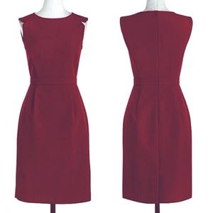 J.CREW Sleeveless fitted dress in Burgundy